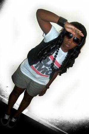 green Express shorts - white Hot Topic shirt - black Levis shoes - delias vest