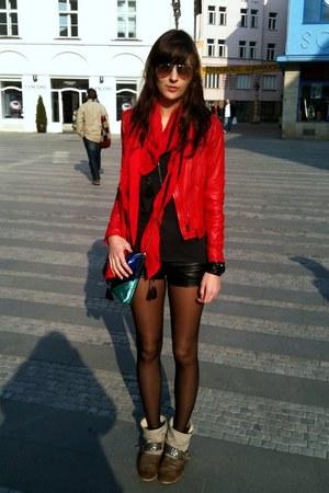 red Zara jacket - tan dune boots - red Zara scarf