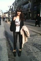 black Burberry boots - black Zara blazer - black Balmain pants - white Zara t-sh