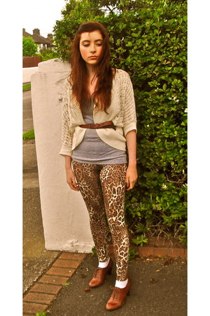 leopard print Topshop leggings - brown new look shoes - brown H&M belt
