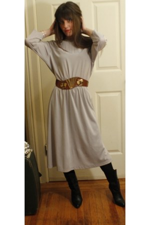 belt - vintage boots - vintage dress