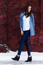 black Jeffrey Campbell boots - navy Urban Outfitters jeans - blue Levis shirt