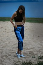 white shoemint loafers - navy Zara jeans - black asos top