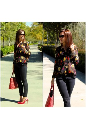 floral Zara blouse - Pull & Bear jeans - Carolina Herrera bag - Zara heels