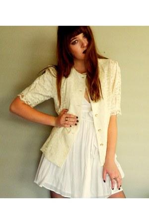 off white dress Vertigo dress - eggshell lace vintage jacket