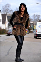 biker Deichmann boots - Tally Weijl sweater - leather Vero Moda pants