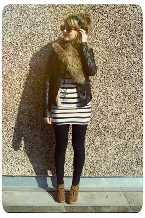 leather Zara jacket - H&M dress - fur vintage scarf - Zara sunglasses