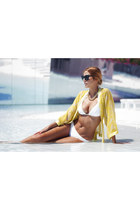 yellow H&M jacket - white Oysho swimwear - gold H&M necklace