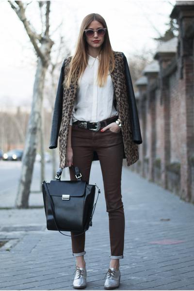 black Pull & Bear coat - white Zara shirt - black Zara bag - brown Zara pants