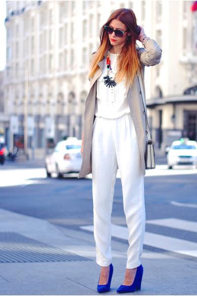 beige Bershka coat - white Zara pants - red Stradivarius necklace