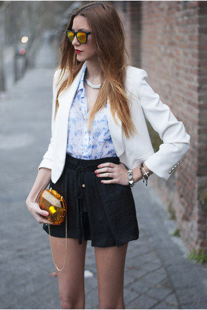 blue abercrombie &amp; fitch shirt - white Mango blazer - orange Zara bag