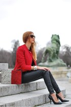 black Zara heels - red Stradivarius jacket - white Zara bag - black Mango pants