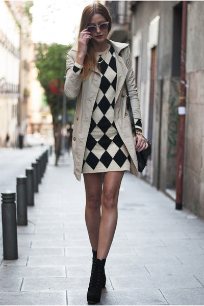 black Forever 21 boots - black Sheinside dress - tan Bershka coat
