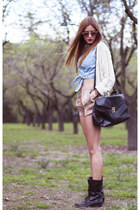 black Ulanka boots - beige Mango jacket - black vintage bag - beige Zara shorts