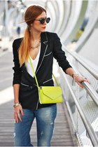 navy denim Zara jeans - black silk Zara blazer - yellow neon Zara bag