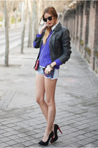deep purple Primark shorts - black leather Zara jacket