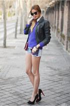 deep purple Primark shorts - black leather Zara jacket