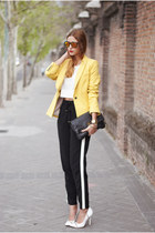 white Aldo heels - yellow Zara blazer - black Marc by Marc Jacobs bag