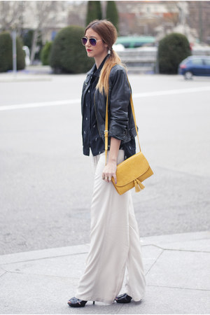 black Zara jacket - black Mango shirt - yellow Mango bag - off white Mango pants