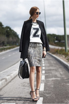 light brown Zara shirt - black H&M blazer - black Zara bag - black Zara sandals