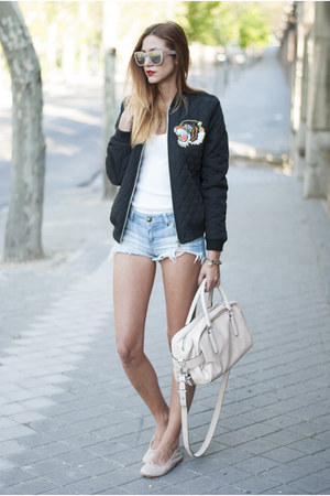 black suiteblanco jacket - eggshell Zara bag - light blue suiteblanco shorts