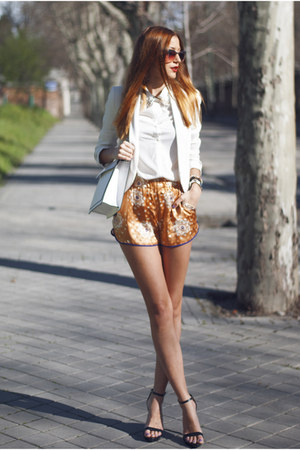 white Mango blazer - white suiteblanco shirt - white Zara bag