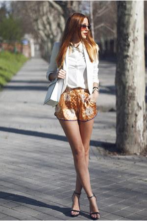 white Mango blazer - white suiteblanco shirt - white Zara bag