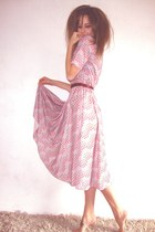 light purple lilac patternd Flos vintage boutique dress - Topshop ring - brown F