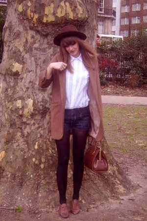 tanned brogues River Island shoes - brown boater vintage hat - Topshop blazer -