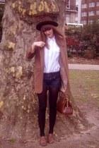 tanned brogues River Island shoes - brown boater vintage hat - Topshop blazer -