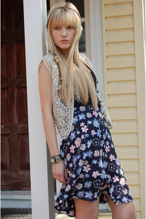 vintage vest - vintage skirt