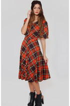 Vintage Red & Black Plaid Grunge Midi Dress