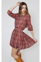 Vintage Plaid Burgundy Schoolgirl Mini Dress