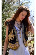 Ethnic Sequin Embroidered Boho Vest with Elephants