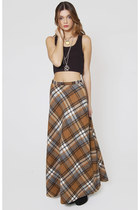 Vintage Wool Plaid Maxi Skirt