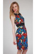 Vintage Abstract Graphic Print Mini Dress