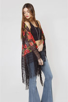 Vintage Black Lace Boho Shawl with Painted Roses