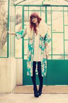 sky blue kimono vintage cardigan - black Gucci sandals