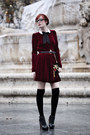 Ruby-red-velvet-ysterike-dress-black-clutch-topshop-bag-black-alaia-heels