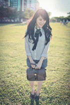 brown retro bag - gray shorts - heather gray polka dots blouse