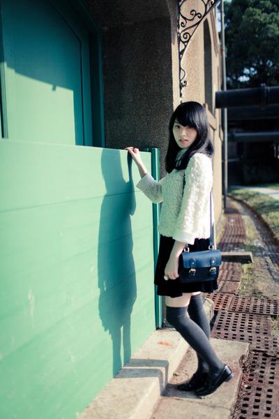 white top - blue Zara Kids bag - charcoal gray socks - navy velvet skirt
