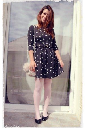 black PERSUNMALL dress - light pink faux fur H&M bag