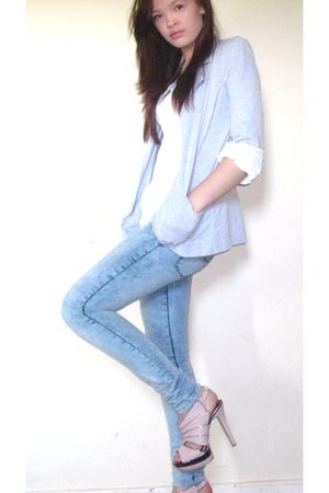 silver blazer - pink Newlook shoes - blue acid wash jeans