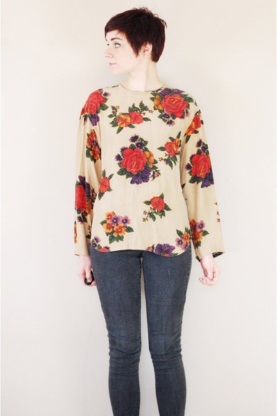 beige floral vintage blouse