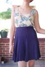Off-white-floral-vintage-shirt-blue-vintage-skirt-dark-khaki-vintage-sandals