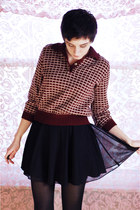 black vintage skirt - maroon vintage sweater