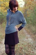 silver vintage sweater - black Urban Outfitters skirt - black Target tights - go