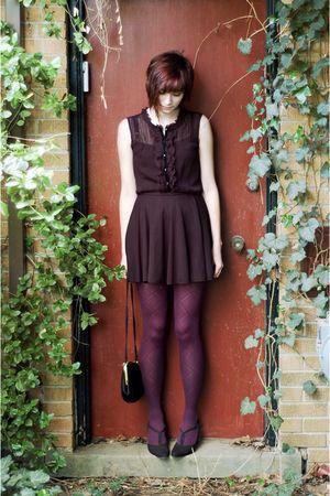 black blouse - black shoes - purple tights - black bag - black skirt
