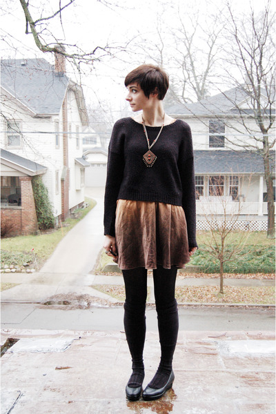 black H&M sweater - gold dress - black calvin klein wedges