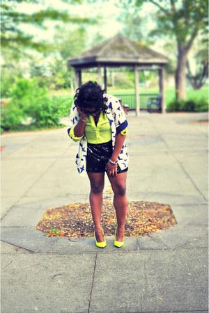 yellow modcloth blouse - white Forever 21 blazer - black Forever 21 shorts